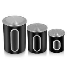 kitchen canisters black fortune food storage canister set of 3 black canisters jars