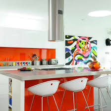 orange and white kitchen ideas orange accents kitchen ideas with table bar and wooden chairs