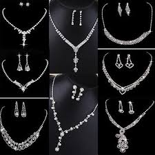 silver pearl necklace set images Crystal pearl necklace earring set silver bridal bridesmaid JPG