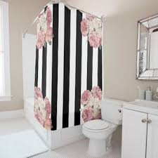 Pink Black And White Shower Curtain Shop Black Striped Shower Curtain On Wanelo