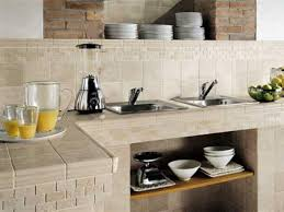 cream tile countertop and backsplash 2 top mount stainless steel