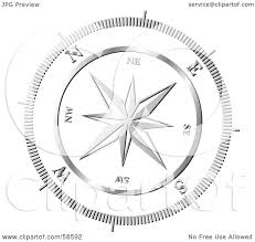 royalty free rf clipart illustration of a chrome compass rose by