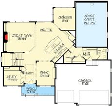 5 bedroom floor plan 5 bedroom sport court house plan 73369hs architectural designs
