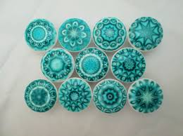 set of 10 aqua blue mandala cabinet knobs mandalas medallions