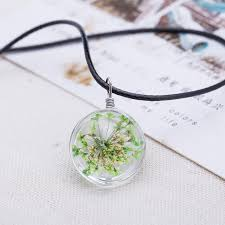 crystal glass pendant necklace images 2016 hot fashion crystal glass ball clover necklace long strip jpg