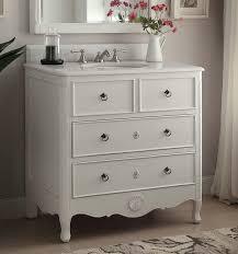 Bathroom Vanities Antique Style 34 Inch Bathroom Vanity Cottage Style Vintage White Color