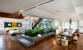 modern contemporary open floor living space house with small
