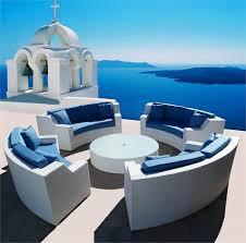 elegant white sahara round wicker sectional sofa outdoor las vegas