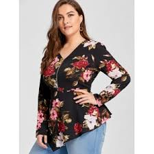 plus size blouse floral 3xl plus size asymmetric half zipper floral sleeve