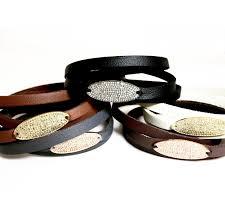 leather bracelet clasp images Pave diamond oval triple wrap leather bracelet magnetic clasp jpg