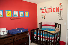 baby nursery decor red side wall message dr seuss baby nursery