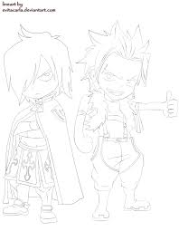 chibi sting and rogue lineart fairy tail by evitacarla lineart