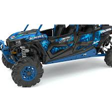 4 seater low profile rock sliders velocity blue polaris rzr