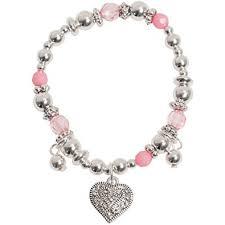 charm bracelet for sweet girl silver tone heart pink charm