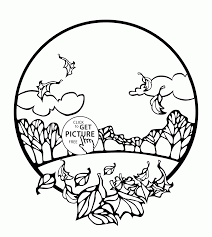 fall scene in a circle coloring pages for kids fall leaves