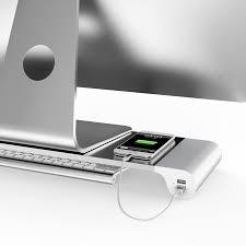 bureau pour mac prime aluminium moniteur stand avec 4 ports usb pour imac mac mini