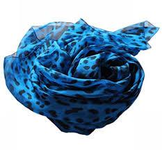Blau Schwarz Muster Prettystern Blau Schwarz Tierdruck Leopard Muster Leicht Chiffon