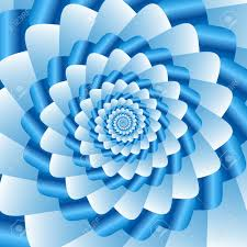 twisted and ribbed spiral in vivid blue color shades on background