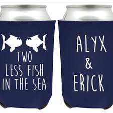custom wedding koozies two less fish in the sea custom wedding from cutesayings on etsy