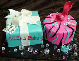 tiffany blue fondant gift box and pink zebra stripe diva cake with
