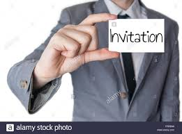 An Invitation Card Businessman Holding Or Showing An Invitation Card Business Concept