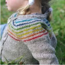hand knitted multi striped rainbow baby toddler hooded cardigan