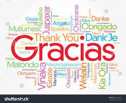spanish thanksgiving words gracias thank you spanish word cloud stock vector 686090374