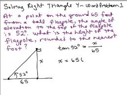 solve right triangles 4 word problem youtube