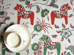 Christmas Table Cloths by Nuwzz Tablecloth Grey Beigr Green Red Swedish Dala Horses
