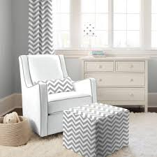 White Fur Ottoman furniture home white fabric rocking chair with white grey zigzag