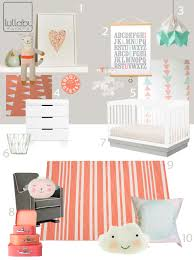 Modern Nursery Curtains My Modern Nursery 77 Coral And Mint Sponsored By Lullaby Paints