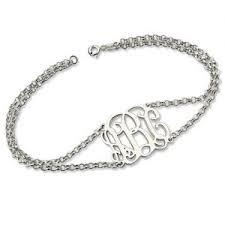 monogram bracelet sterling silver personalized monogram bracelets