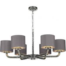 Pewter Ceiling Lights 6 Arm Pewter Ceiling Pendant With Dusky Pink Silk Shades Dual Mount