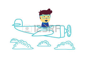 plane in color pencil drawing style with a boy pilot on a white