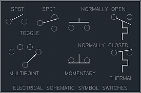 electrical schematic symbol switches free cad block and