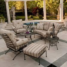 Wrought Iron Swivel Patio Chairs Woodard Terrace Wrought Iron 6 Piece Patio Furniture Set Wd
