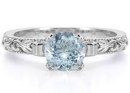 aquamarine wedding rings 1 carat deco aquamarine engagement ring 14k white gold