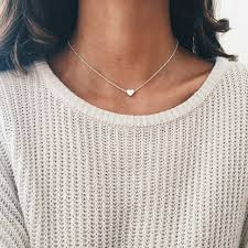love heart choker necklace images 2017 simple gold silver color chain choker necklace for women love jpg
