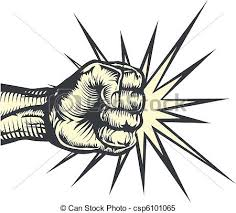 clipart vector of fist punching a fist punching out striking or