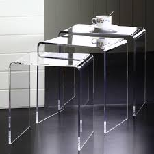 Clear Lucite Desk Clear Acrylic Nesting Tables Set Of 3 Free Shipping Today