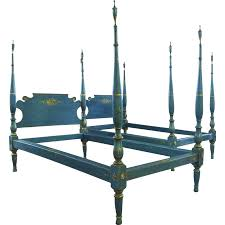 Four Poster Bed Pair Of American Painted Twin Four Poster Beds From Blacktulip On