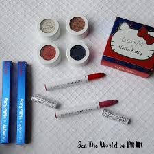colourpop hello kitty collection review swatches and a makeup
