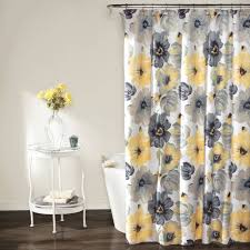 Blue And Yellow Shower Curtains Navy Blue And Yellow Floral Shower Curtain Shower Curtains Design