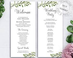 wedding reception program template reception program etsy