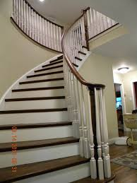Refinish Banister Wood Stairs And Rails And Iron Balusters New Circular Handrail