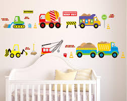 Wall Decals For Boys Room Excavator Blender Truck Hoist Forklift Trailer Bus Wall Stickers