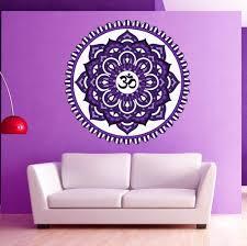 amazon com wall decal mandala multicolored oum om yoga studio