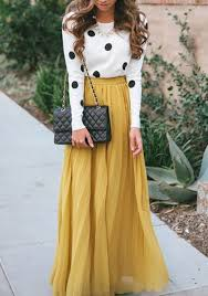 maxi skirt yellow plain pleated bohemian popular flowy maxi skirt