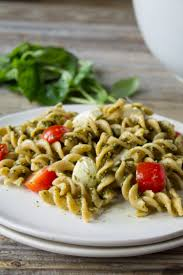 kara lydon caprese pasta salad with hemp pesto