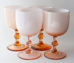 carlo moretti goblets set of four 4 mismatched moretti cased